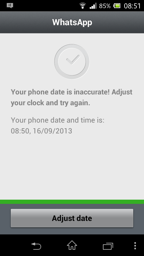 Whatsapp Error Solved: Your Phone Date Is Inaccurate