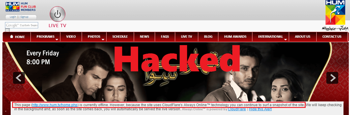 Hum TV Website Hacked