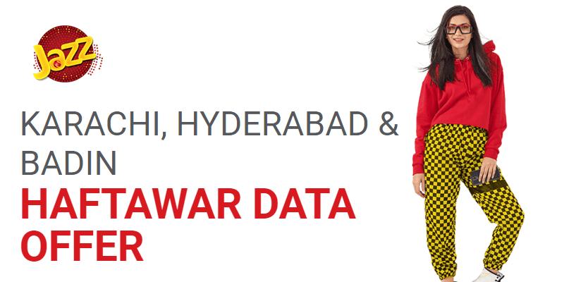 Jazz Karachi Hyderabad Badin Haftawar Data Offer